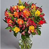 Bouquet of orange and yellow roses