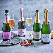 Bottles of Delacourt champagne