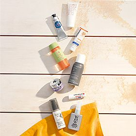 Selection of travel-size toiletries