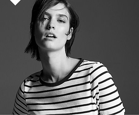 Model wears a Breton top from the Foundation Edit