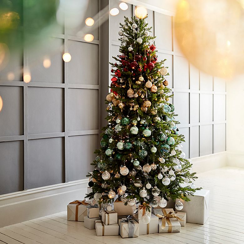 Christmas tree decorated in an ombré effect