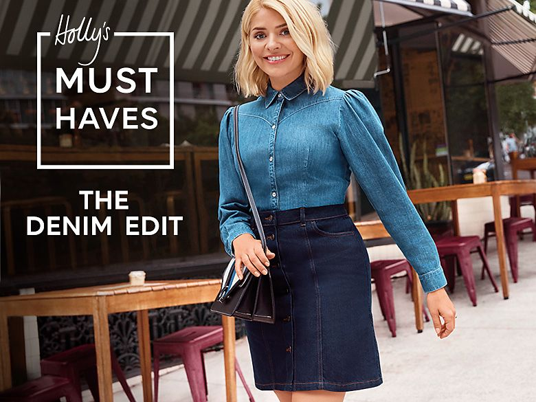 Holly Willoughby wearing a blue denim shirt and blue denim mini skirt ed7b6edc6