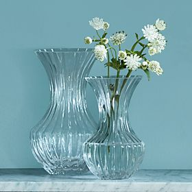 Glass vases on a shelf