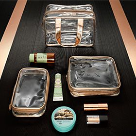 A trio of wipe-clean cosmetic cases