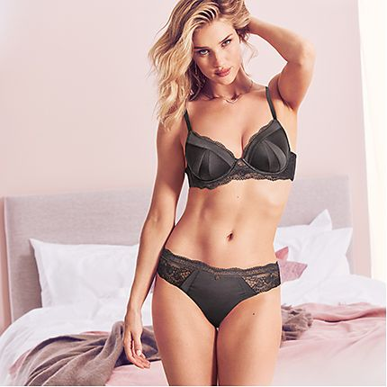 Rosie Huntington-Whiteley wears a grey silk and lace bra and matching knickers