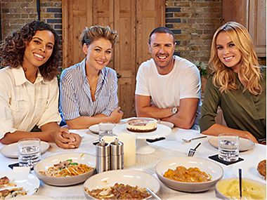M&S celebrity tasters Rochelle Humes, Emma Willis, Paddy McGuinness and Amanda Holden