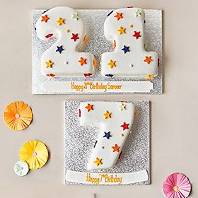 Number-shaped birthday cakes