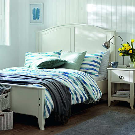 Bedroom With A Holly Double Bed And Striped Bedding