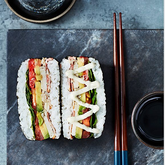 Chicken, bacon and avocado sushi sandwich