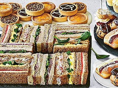 Sandwiches and cakes
