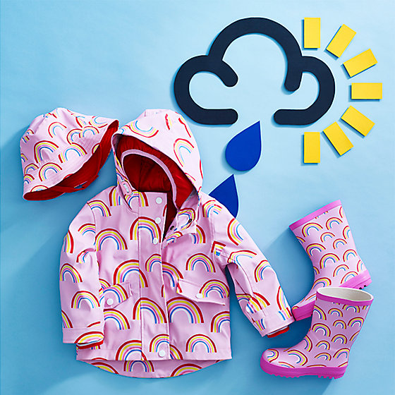 dfb58414107f2 Three-in-one Marks and Spencer rainbow coat for girls, with matching wellies