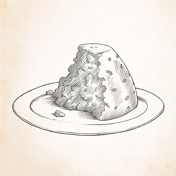 Illustration of half-eaten Christmas pudding