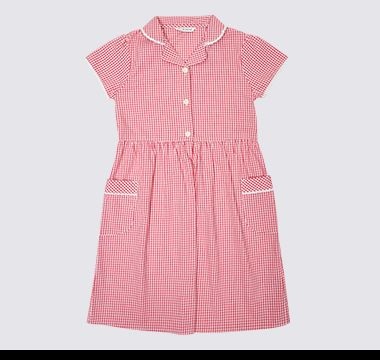 Pink gingham pure cotton M&S school dress