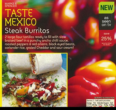 M&S Taste Mexico steak burritos