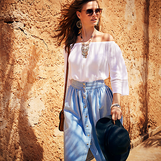 Model Wearing Ivory Off Shoulder Peasant Blouse From M S Collection