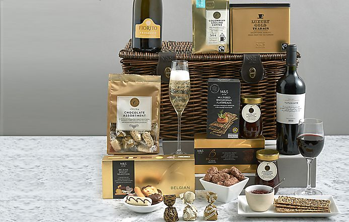 Luxury MS Hamper Surrounded By Treats And Wine