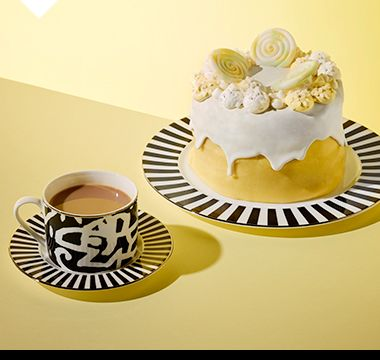 Lemon drizzle meringue cake plus a Sue Timney cup and saucer