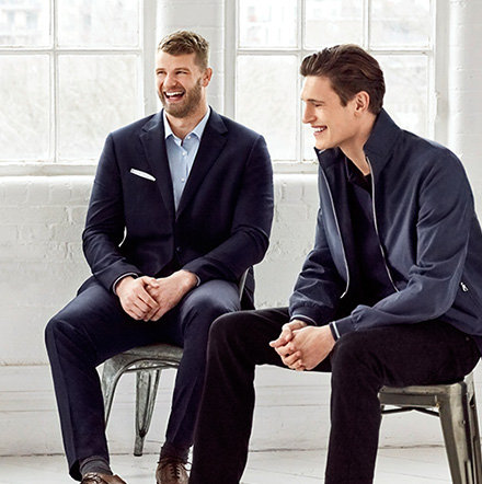 Three men wearing Big & tall mens clothing