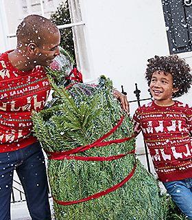 Man and boy with a Christmas tree wear matching Christmas jumpers