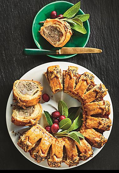Sausage roll wreath on a white plate