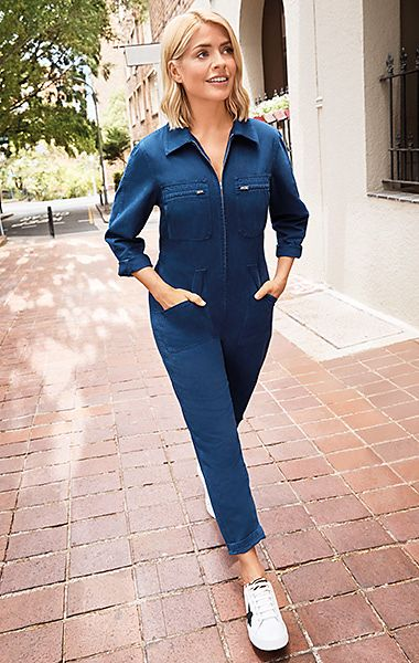 Holly Willoughby wearing a blue denim boiler suit