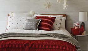 Christmas bedding on a double bed