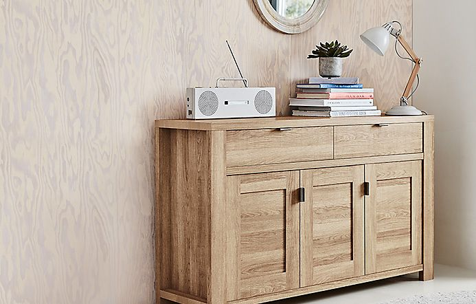 Wooden sideboard in a hallway