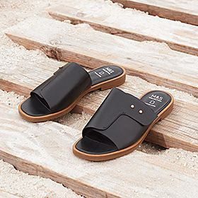 A pair of black mule-style sandals