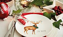 Christmas crockery on a table